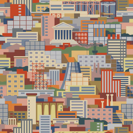 iron ore: Industrial city flat style scenery seamless vector pattern with shops, skyscrapers, theaters, regular buildings, plants, factories, smoking pipes, cranes, construction facilities with parkland among