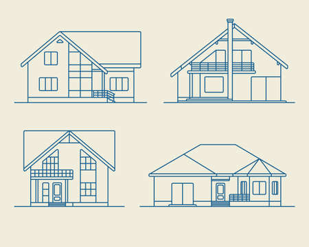 roof construction: Set of various design vector linear private residential houses isolated on light background. Detailed graphic symbols and elements collection