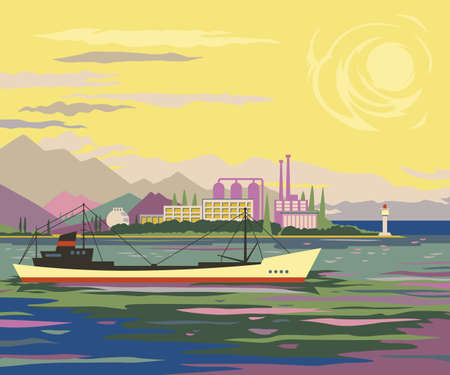 coast: Mountain coast view flat style landscape with industrial production area, buildings, plants, factories, smoking pipes, construction facilities among greenery and cargo ship sailing in the sea in front