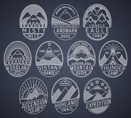 climbing mountain: Set of alpinist and mountain climbing outdoor activity vector linear labels.Logotype templates,badges,emblems,signs white graphic collection.National parks,nature preserves tourism exploration symbols