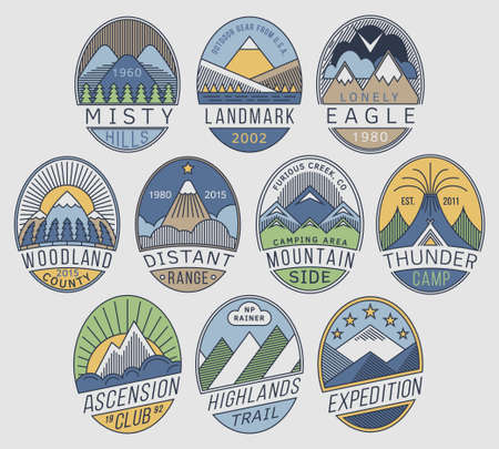 preserves: Set of alpinist and mountain climbing outdoor activity vector linear labels.Logotype templates,badges,emblems,signs color graphic collection.National parks,nature preserves tourism exploration symbols Illustration