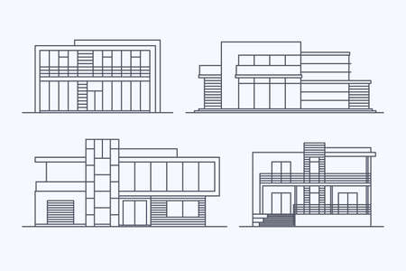 architecture: Set of various design vector linear modern private residential houses isolated on light background. Detailed graphic symbols and elements collection