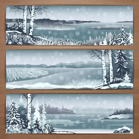 thematic: Winter thematic vector banners design with great wild snowy landscapes and falling snowflakes. Brochure,flyer,booklet,card template for product promotion and advertising isolated on wood background Illustration