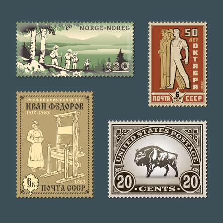 Set Vintage Vektor alten Stil verschiedenen thematischen Briefmarken. Retro-Design Zeichen Vorlagen verschiedener Länder graphische Sammlung. Nationale Charakteristika und kulturelle Symbole Illustrationen