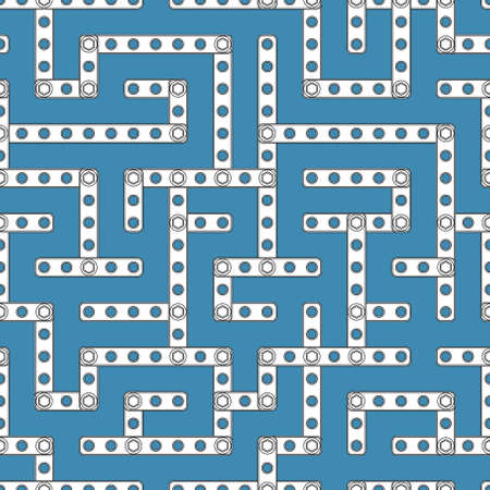 wander: Labyrinth seamless linear vector pattern designed of different sizes plastic details from children building kit isolated on blue background