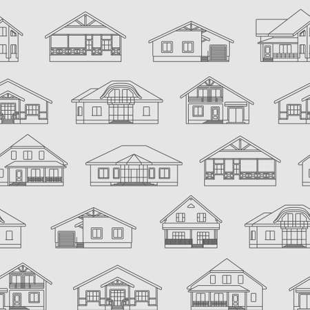 logo home: Various design vector linear private residential houses isolated on light background seamless vector pattern. Detailed graphic symbols and elements collection