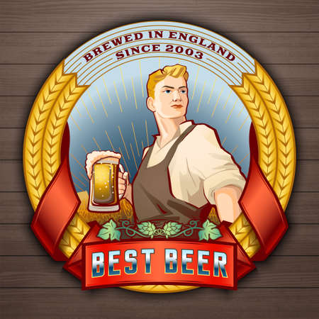 Determined young man in working clothes holding pint of beer vector label design. Logotype and badge template for breweries, pubs, brasseries, brew houses and beer bars isolated on white background