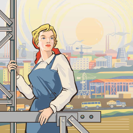 iron ore: Working woman on the background of vast landscape of growing industrial country with fields and rivers,roads full of traffic, buildings, plants, factories, smoking pipes,cranes,construction facilities