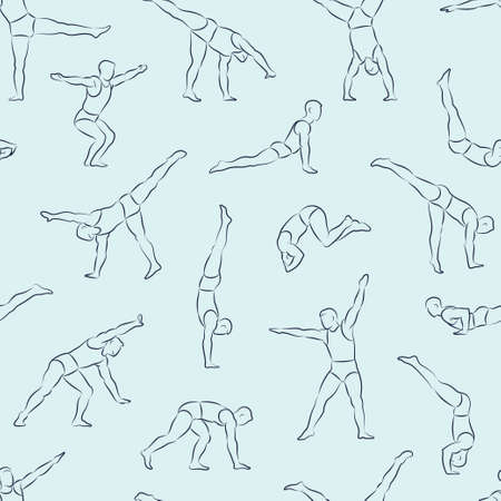 sport cartoon: Seamless linear vector pattern with man schematic figures in different poses doing gymnastic and acrobatic exercises isolated on light background illustration Illustration
