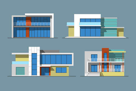 Set of various design color vector flat style modern private residential houses isolated on blue background. Detailed graphic symbols and elements collection Illustration
