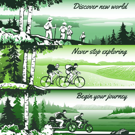 thematic: Outdoor thematic vector banner design with traveling people and great wild landscapes graphics. Brochure,flyer,booklet,card template set for product promotion and advertising