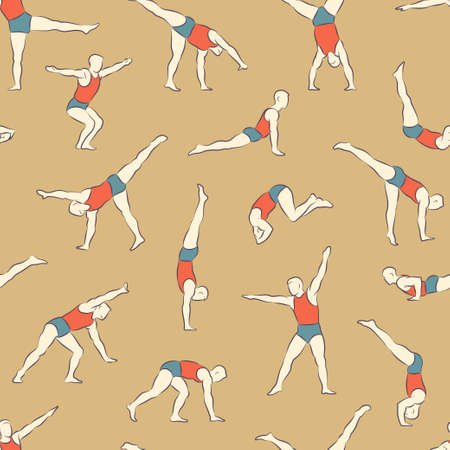 somersault: Seamless color vector pattern with man schematic figures in different poses doing gymnastic and acrobatic exercises isolated on light background illustration Illustration
