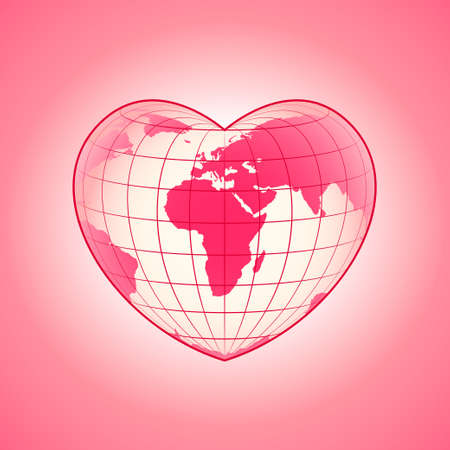 macrocosm: Happy Valentines Day theme heart shaped Earth planet design vector illustration Illustration