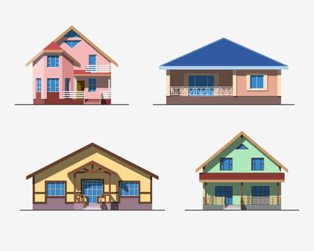 residential houses: Set of various design color vector flat style private residential houses isolated on white background. Detailed graphic symbols and elements collection