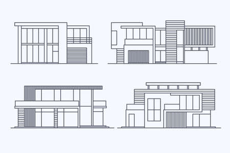 luxury apartment: Set of various design vector linear modern private residential houses isolated on light background. Detailed graphic symbols and elements collection