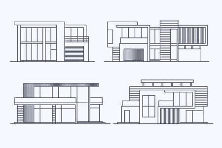 Vaus デザインのセットは、明るい背景に分離された線形現代民間住宅住宅をベクトルします。詳細なグラフィック シンボルとエレメントのコレクシ