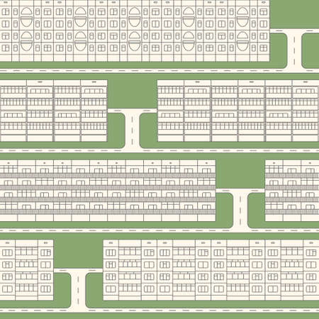 domicile: Various design linear facades of panel houses sleeping quarters isolated on green grass seamless vector pattern. Classic blocks of flats architectural symbols and design elements with driveways