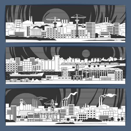 産業テーマ線形ベクトル バナー デザイン フィールドそして都市の建物、植物、禁煙パイプの国の風景。パンフレット、小冊子、製品のプロモーシ