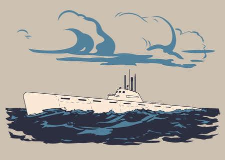 水表面のベクトル図まで浮いた軍事原潜