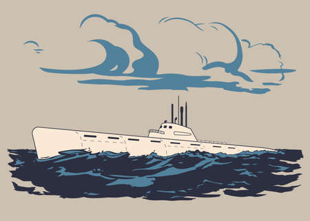 Nuclear military submarine floating up to the water surface vector illustration Ilustracja