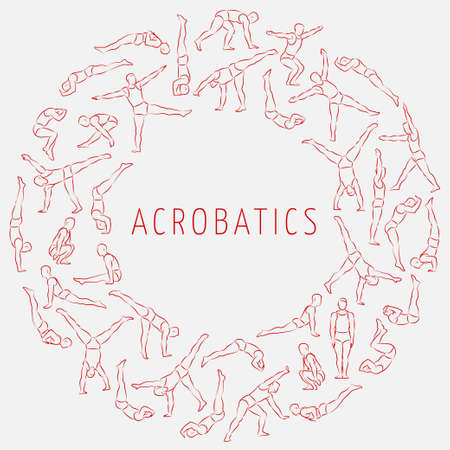 白い背景のベクトル図に分離された円形に配置体操やアクロバットの演習を行うさまざまなポーズの数値は概略の線形男性