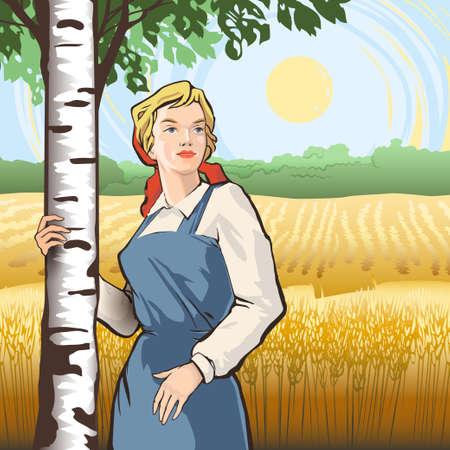 熟した小麦のベクトル図のフィールドの中で白樺の木の近くに立っている作業服の若い女性。スラブの国民性と製品のプロモーションや広告の文化