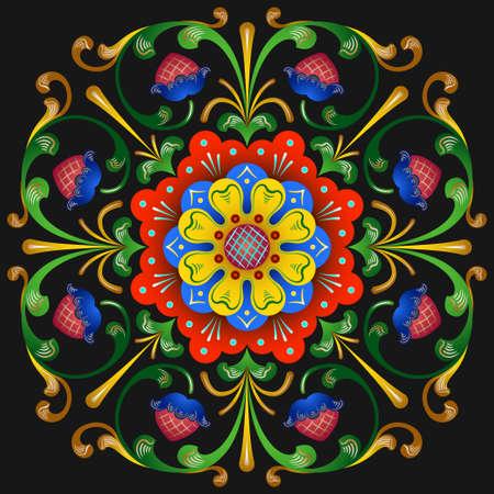 抽象的なベクトルの装飾的な部族民族のロシア風装飾用レース柄をラウンドします。ポスター、ポストカード、ページ装飾やタイポグラフィの花や