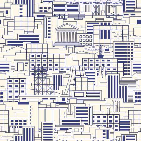 工業都市線形スタイル風景シームレスなベクトル パターン ショップ、高層ビル、劇場、通常の建物、植物、工場、禁煙パイプ、クレーン、パークラ