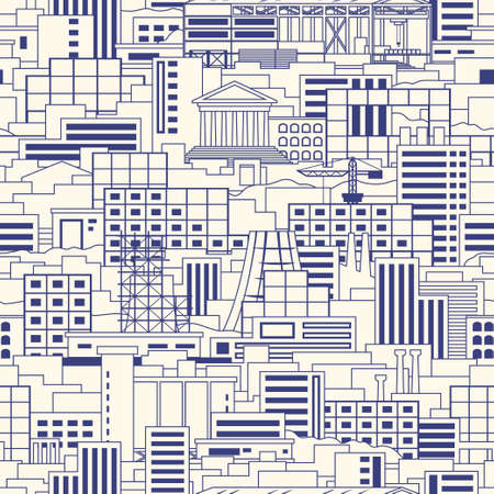 iron ore: Industrial city linear style scenery seamless vector pattern with shops, skyscrapers, theaters, regular buildings, plants, factories, smoking pipes, cranes, construction facilities with parkland among