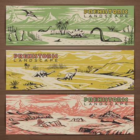 moss: Prehistoric theme vector banner design with pristine landscape, carnivorous dinosaurs and ancient plants. Brochure, flyer, booklet, postcard template for product promotion and advertising