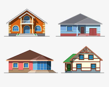 Set of various design color vector flat style private residential houses isolated on white background. Detailed graphic symbols and elements collection