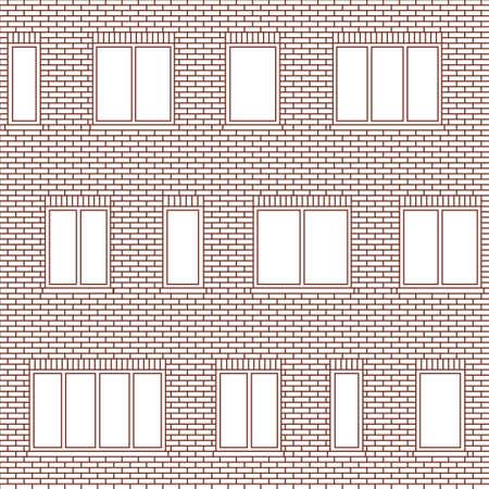 レンガ壁の建物のファサードは windows ベクターのシームレス パターンの様々 なサイズ。窓、古典的なレンガ、セラミック タイル、複合パネルの不