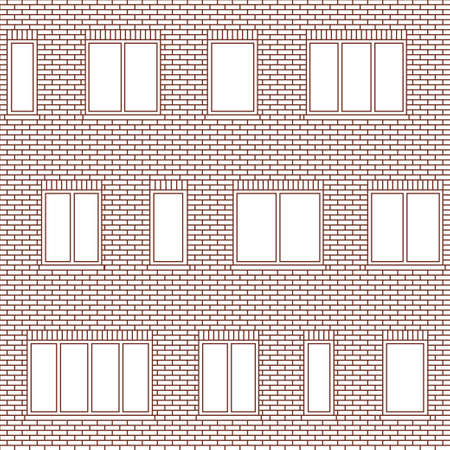 Brick wall building facade with various sizes of windows vector seamless pattern. Architectural background with uneven distribution of glazing and classic brick masonry, ceramic tile, composite panels Ilustracja