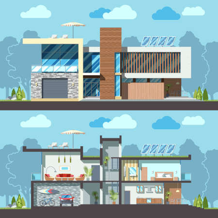 reusing: Luxury modern residential two-storied house facade and detailed furnished interior section. Minimalistic eco-friendly architecture reusing energy, reserving nature resources flat vector illustration Illustration