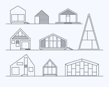 様々 なデザインの小さなセットはベクトル明るい背景に分離された線形現代民間住宅住宅です。最小限の環境にやさしい建築エネルギーの再利用、