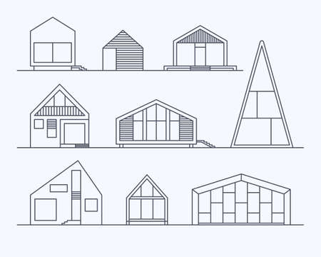 Set of various design small vector linear modern private residential houses isolated on light background. Minimalistic eco-friendly architecture reusing energy, reserving nature resources collection Ilustracja