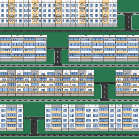 仮眠室の緑の草のシームレス パターンの分離パネル住宅の様々 なデザイン色の線状のファサード。アパート建築のシンボルと車道とデザイン要素の  イラスト・ベクター素材