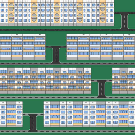 extensive: Various design linear color facades of panel houses sleeping quarters isolated on green grass seamless vector pattern. Classic blocks of flats architectural symbols and design elements with driveways Illustration
