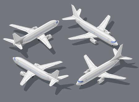 乗客の定期旅客機の高品質フラット等尺性ベクトル イラストの詳細。記号をすべての現代の 3 d 飛行機。製品のプロモーション、プレゼンテーショ  イラスト・ベクター素材