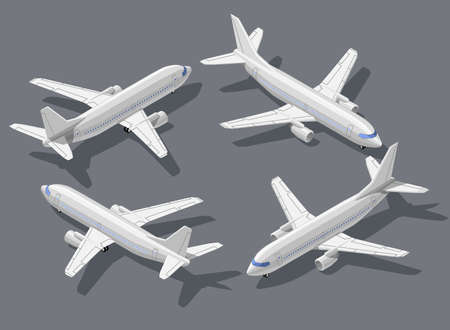 pilot wings: Passengers airliner high quality detailed flat isometric vector illustration. Modern 3d airplane all around symbols. Elements for product promotion, presentation and infographics isolated on gray