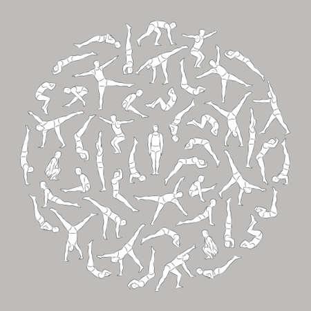 灰色の背景のベクトル図に分離された円形に配置体操やアクロバットの練習をやってさまざまなポーズの数値は概略の線形男性