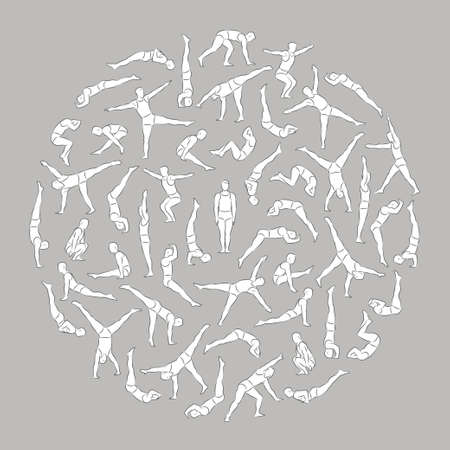 Schematic linear men figures in different poses doing gymnastic and acrobatic exercises arranged in a circle isolated on gray background vector illustration