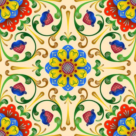 ロシア スタイルの抽象的な装飾的な部族民族シームレスな装飾用レース パターン。ポスター、ポストカード、ページ装飾やタイポグラフィの花絵画