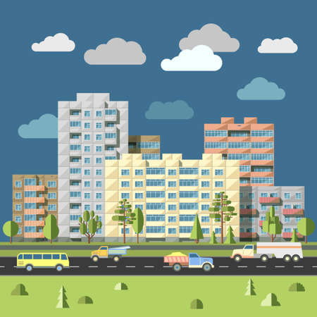 residential district: Panel houses with traffic on road in front city landscape flat style illustration. Typical blocks of flats of sleeping quarters urban scenery concept of residential district of megalopolis