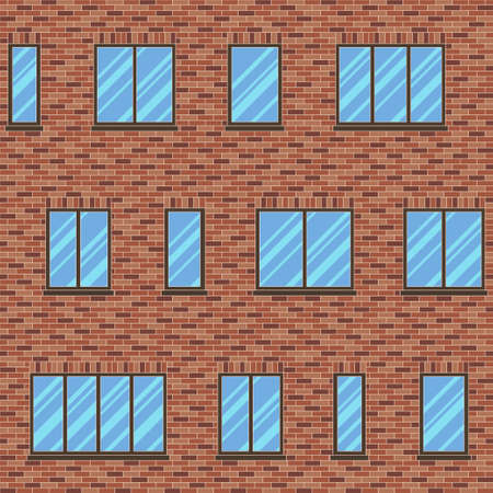 glazing: Brick wall building facade with various sizes of windows seamless pattern. Architectural background with uneven distribution of glazing and classic brick masonry, ceramic tile, composite panels