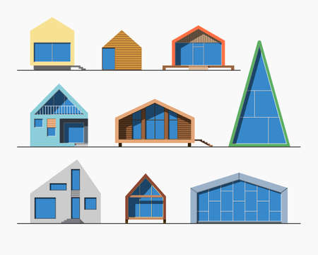 reusing: Set of various design small color modern private residential houses isolated on light background. Minimalistic eco-friendly architecture reusing energy, reserving nature resources collection
