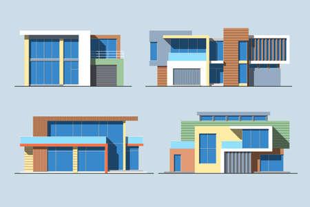 様々 なデザインのセット色フラット スタイルの青の背景に分離されたモダンな専用住宅。詳細なグラフィック シンボルとエレメントのコレクショ