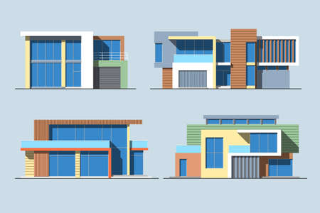 Set of various design color flat style modern private residential houses isolated on blue background. Detailed graphic symbols and elements collection
