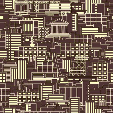 工業都市線形スタイル風景シームレス パターン ショップ、高層ビル、劇場、通常の建物、植物、工場、禁煙パイプ、クレーン、暗い背景上の工事用