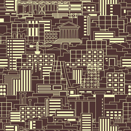 megalopolis: Industrial city linear style scenery seamless pattern with shops, skyscrapers, theaters, regular buildings, plants, factories, smoking pipes, cranes, construction facilities on dark background Illustration
